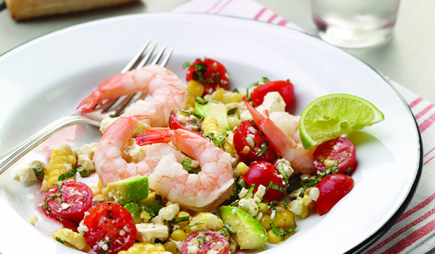 Fresh Corn, Tomato, And Avocado Salad With Shrimp
