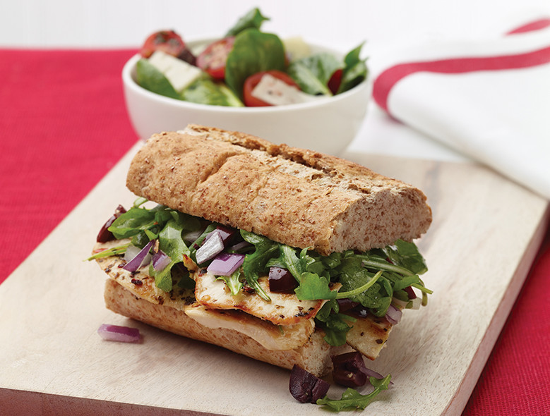 Grilled Chicken Sandwich With Olive Arugula Topping