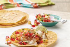 Grilled Fish Tacos With Strawberry-Mango Salsa