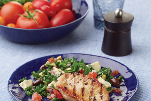 Grilled Pork With Tomato, Artichoke, And Kale Salsa