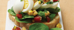 Open Face Egg & Spinach Salad Sandwich