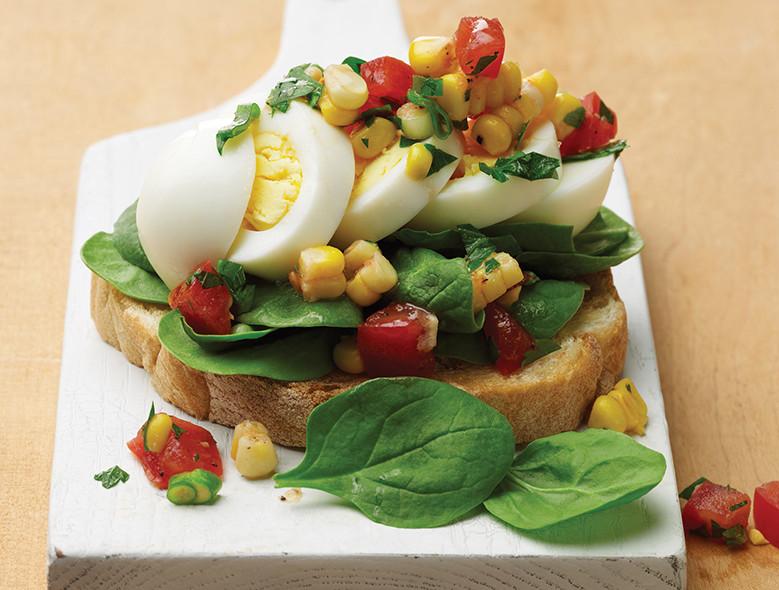 Open Face Egg & Spinach Salad Sandwich