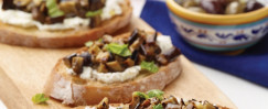 Ricotta, Grilled Eggplant, and Fresh Mint Bruschetta (Bruschetta Calabrese)