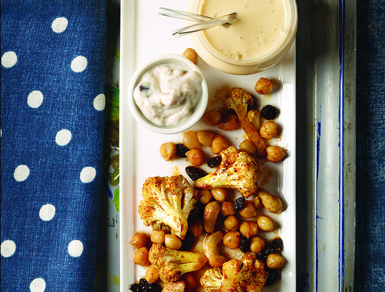 Roasted Indian Cauliflower Tossed With Chickpeas And Cashews