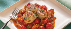 Seared Scallops With Roasted Grape Tomatoes