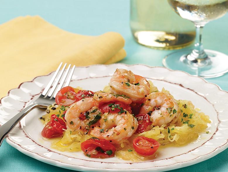 """Spaghetti Squash """"Pasta"""" with Shrimp, Tomatoes, and Basil (""""Pasta"""" di Zucca con Gamberi, Pomodori, e Basilico)"""
