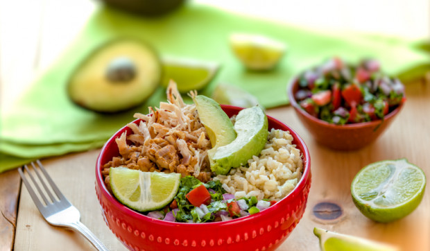 Brown Rice and Pinto Bean Bowl with Chicken and Pico de Gallo
