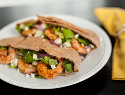 Budget-Friendly Greek Salad and Grilled Shrimp Pitas