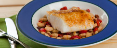 Cod on Roasted Pepper and White Beans