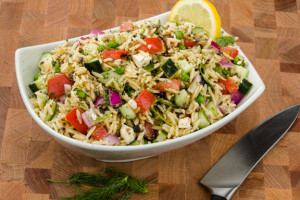 Greek Orzo Salad with Peas, Lemon and Kalamata Olives