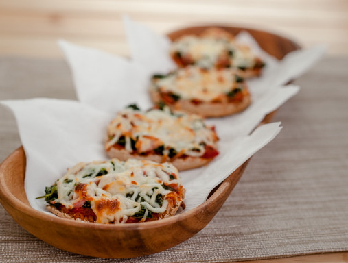 Spinach and Ham English Muffin Pizzas