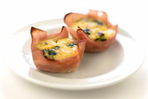 菠菜蘑菇蛋和火腿杯