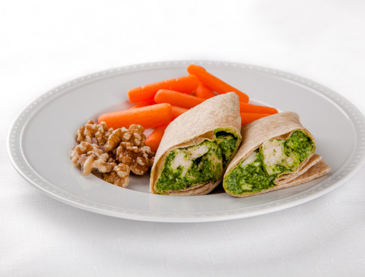 Spinach Pesto Chicken Salad Wrap