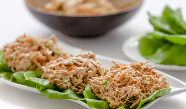 Teriyaki Creamy Chicken Salad in Lettuce Cups