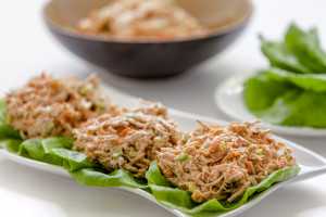 Teriyaki Creamy Chicken Salad in Lettuce Cups