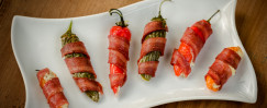 Turkey Bacon Wrapped Jalapeño Poppers