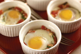 Spinach, Tomato and Feta Cheese Baked Egg