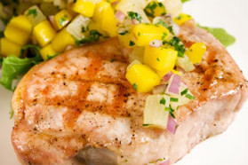 Budget-Friendly Pork Chops with Peach Salsa
