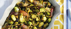 Chili-Roasted Shallots and Brussels Sprouts