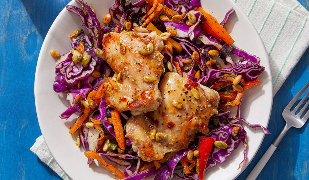 Mojo-Style Chicken Thighs with Cilantro Slaw and Garlic-Lime Pepitas