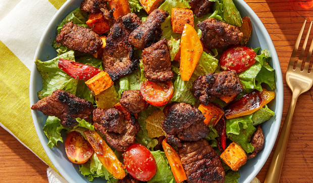 Mexican-Spiced Beef Salad with Roasted Vegetables and Creamy Cilantro Dressing