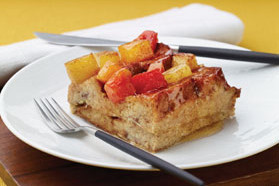 French Toast Casserole With Honey-Glazed Fruit