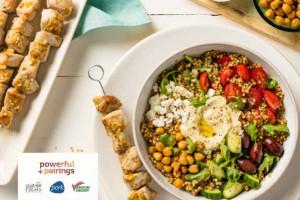 Mediterranean Grain  Bowl with Pork  Skewers