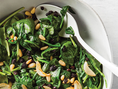 Sauteed Baby Spinach With Currants and Pine Nuts