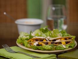 Black Bean, Mango and Chicken Quesadillas with Salad