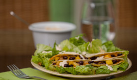 Black Bean, Mango and Chicken Quesadillas with Salad