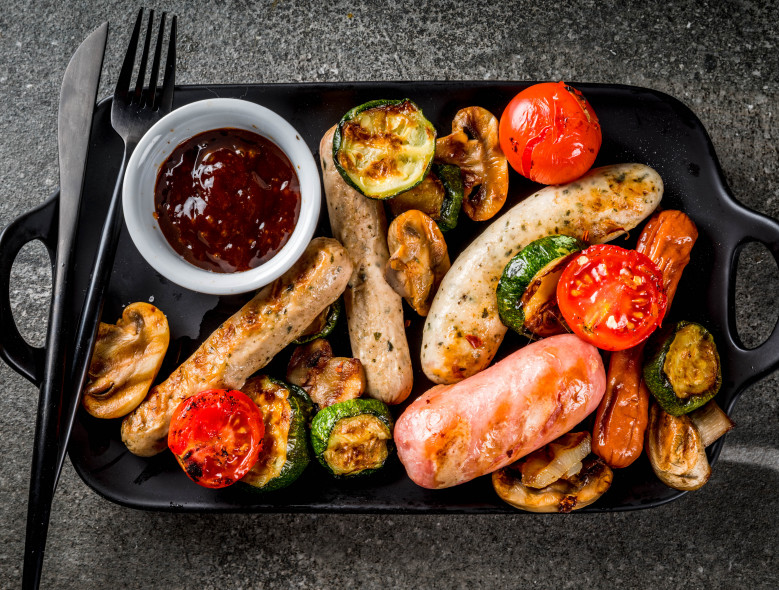 Grilled Chicken Sausage with Zucchini and Peppers